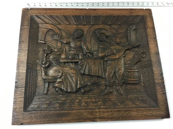 "Large Deep Relief Carved German Black Forest Oak Plaque 24""x 20"""