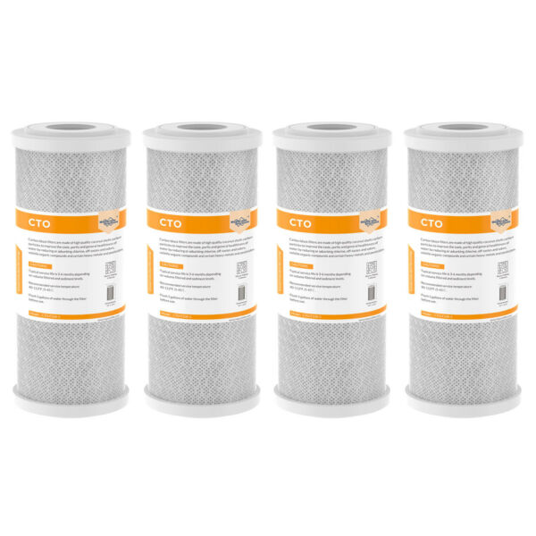 4 Pack 10quot; x 4.5quot; CTO Carbon Block Water Filter Replacement For Big Blue Housing $54.75