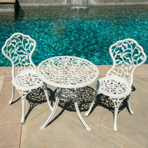 3PC Bistro Set Patio Table Chairs Ivory Furniture Balcony Antique Vintage White $172.99