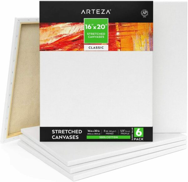 Arteza Classic Stretched Canvas 16 x 20 in - Pack of 6 $42.99
