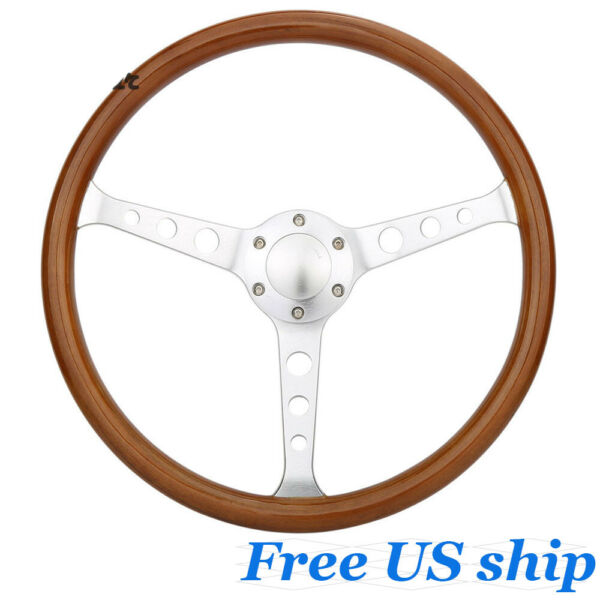 Universal 15quot; Classic Wood Grain Silver Round Hole Brushed Spoke Steering Wheel $84.89