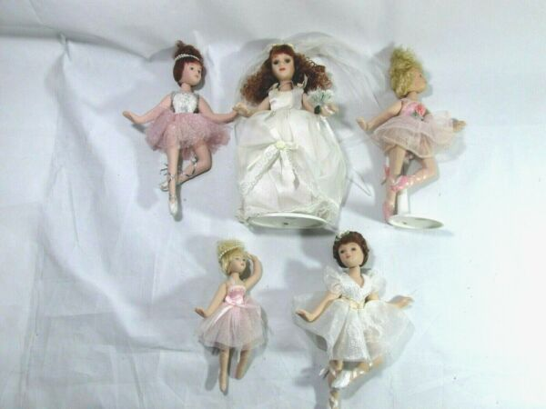 Porcelain Dolls Lot Five Dancers and Bride
