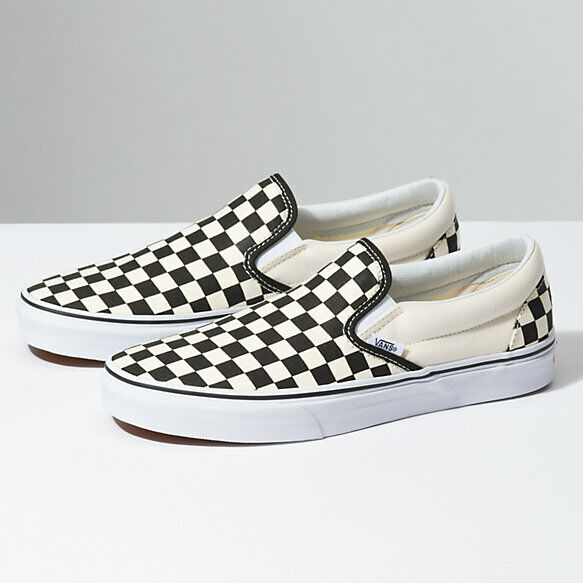 Vans Slip On Checkerboard Black Classic Shoes FREE SHIPPING