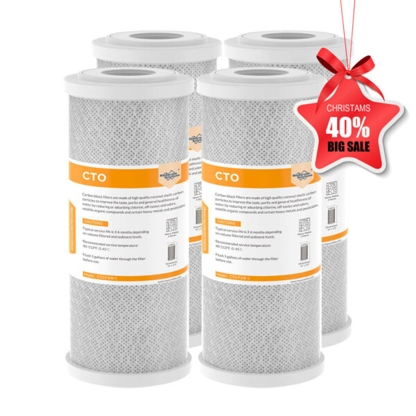 4 Pack 10quot; x 4.5quot; Whole House Carbon Block Water Filter Replacement Fit GXWH40L $54.72