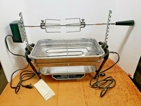 FARBERWARE Open Hearth Indoor BROILER 450 & ROTISSERIE 455N Fully Tested & CLEAN