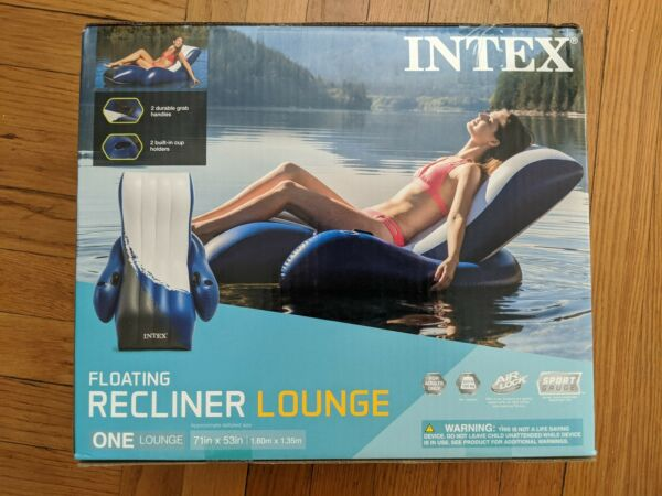 Intex Inflatable Floating Lounge Pool Recliner Chair w Cup Holder🚨FREE SHIPPING $49.99