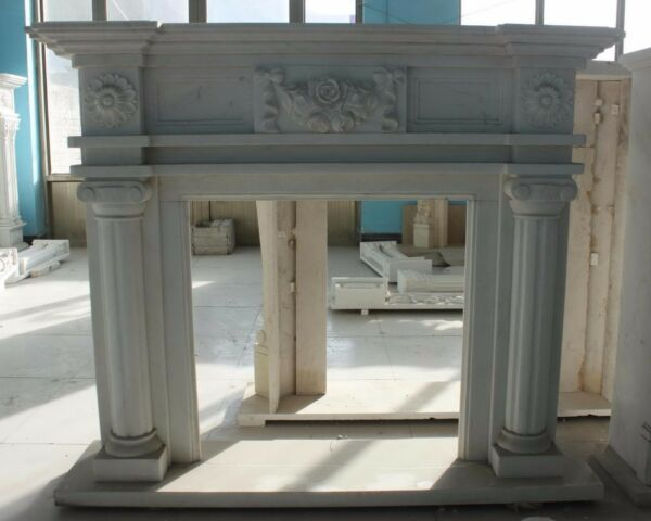 Hand carved Marble French fireplace Mantel White marble with Rosettes