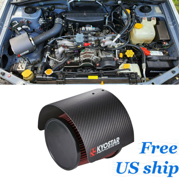 KYOSTAR 2.25 3#x27;#x27; Real Carbon Fiber Cone Air Filter Heat Shield Cover Universal $49.68