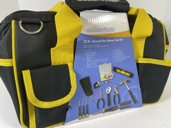 Essentials Around the House Homeowner#x27;s Tool Set with Black Tool Bag 32 Piece
