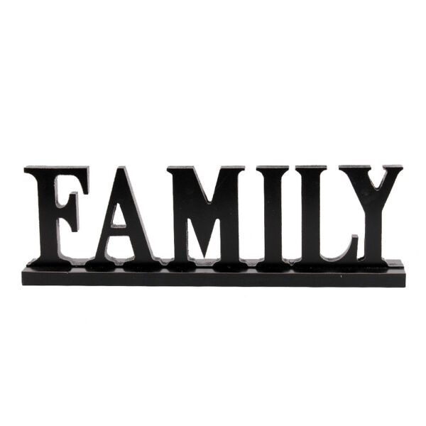 Family Word Sign Wood Block Family Sign Rustic Standing Cutout Letter