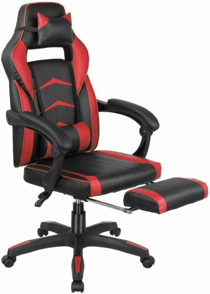 Gaming Chair Racing Computer Office Chair PU High Back Footrest Ergonomic Red $109.99