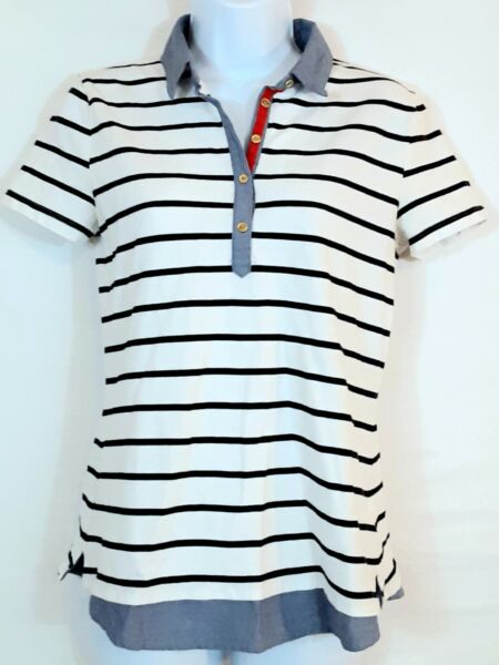 Tommy Hilfiger Polo Shirt Women#x27;s S P Multicolor Stripe Short Sleeve Stretch $18.99