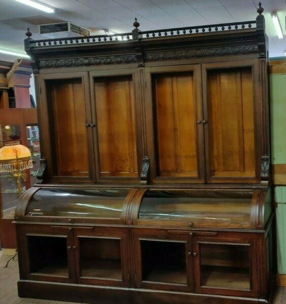 Oak back bar apothecary pharmacy general store cabinet from east Hampton Mass