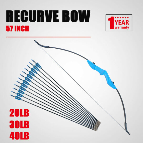 Archery Takedown Recurve Bow 57in. 20 30 40lbs Right Left Hand with 12pc Arrows