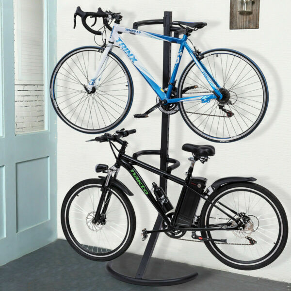Freestanding Gravity Bike Stand Two Bicycles Rack For Storage or Display $75.99