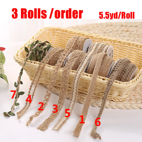 3 Rolls order Burlap Natural Fiber Jute Twine Rope Cord Craft DIY Gift Ribbons