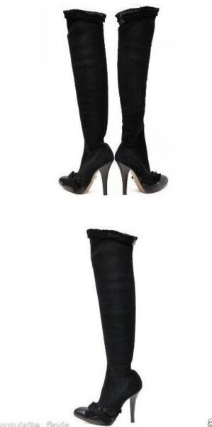AW 2001 TOM FORD FOR YVES SAINT LAURENT BLACK OVER KNEE BOOTS 37 - 7