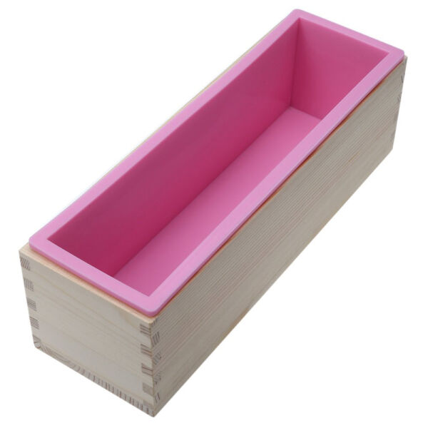 Rectangle Silicone Soap Mold Wooden Box DIY Tools Toast Loaf Baking Cake Molds