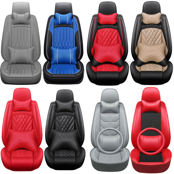 Luxury Car Seat Covers 5-Sits Front Rear PU Leather Cushions Interior Universal $84.82