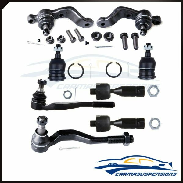 8x Fit for 1998 2004 Toyota Tacoma Front Ball Joints Tie Rod Ends Steering Part