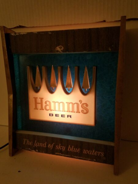 VINTAGE HAMMS BEER LIGHTED SIGN THE LAND OF SKY BLUE WATERS TESTED AND WORKING