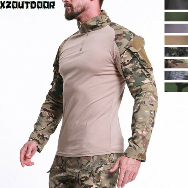 Mens Tactical Shirt Airsoft Military T Shirt Combat Army Camo Casual Hunting $26.50