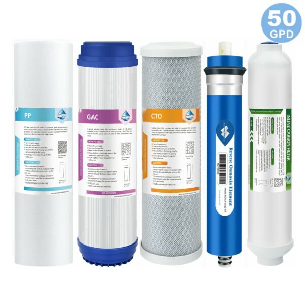 5 Stage Reverse Osmosis System Water Filter with 50GPD RO Membrane 5 Pack Set US $28.99