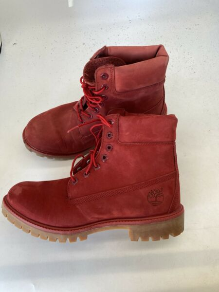 TIMBERLAND Size 9M U48 MENS A1149 MEN#x27;S 6quot; PREMIUM RED WATERPROOF LEATHER BOOT $89.99