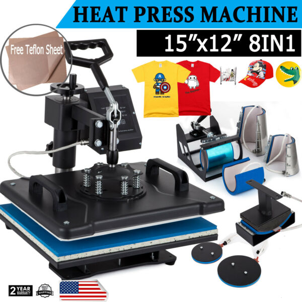 8 in 1 T Shirt Heat Press Machine Digital Transfer Sublimation Mug Hat Plate Cap $153.20