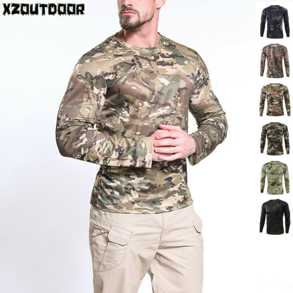 ESDY Mens Tactical Combat T Shirt Airsoft Long Sleeve Army Military Casual Camo $14.99