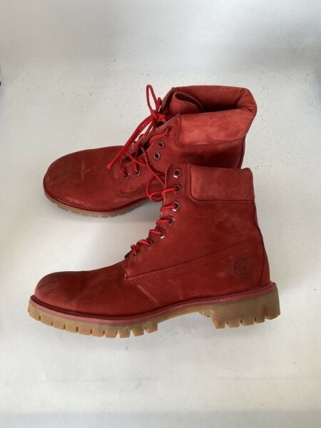 TIMBERLAND Size 9M MENS A1149 MEN#x27;S 6quot; PREMIUM RED WATERPROOF LEATHER Boot U233 $89.99