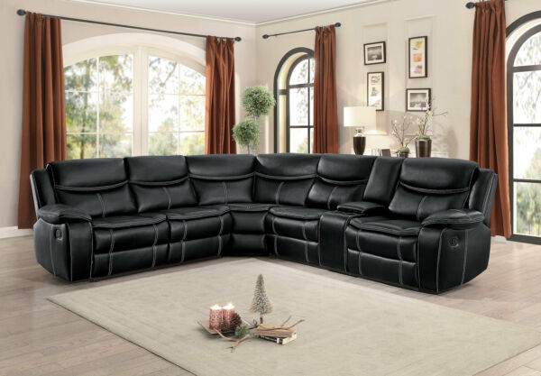 NEW Motion Sofa Sectional Black Faux Leather Reclining Living Room Couch Set F6A $1964.72