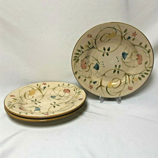 3 HOME AMERICAN SIMPLICITY FLORAL VINES 11 1 4quot; ROUND DINNER PLATES NO CHIPS $59.90