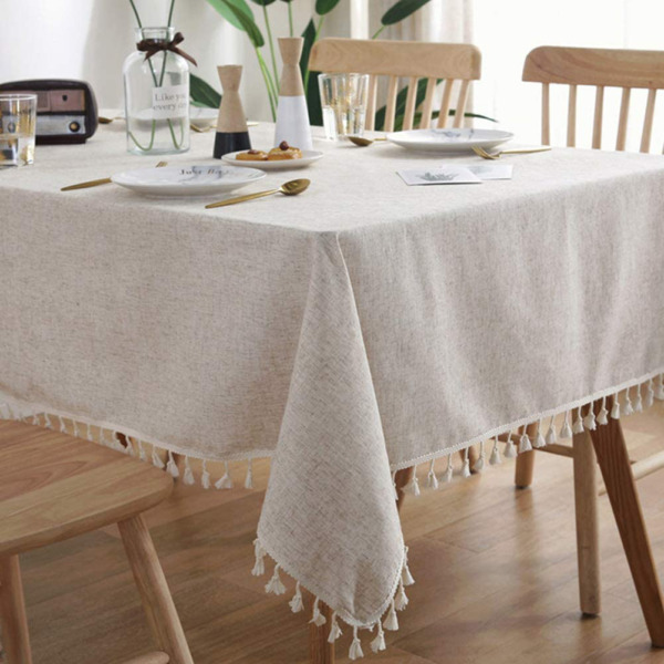 AMZALI Washable Cotton Linen Tablecloths Fabric Tassel Tablecloth Dust Proof Tab