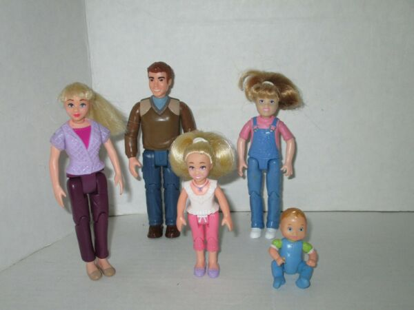 Fisher Price Loving Family Dolls-  Dad Mom 2 Duaghters & Baby (Lot S)