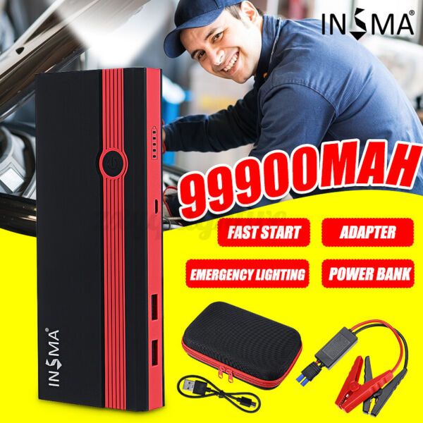 US 99900mAh Portable 12V Car Jump Starter Power Bank Booster USB Charger Battery