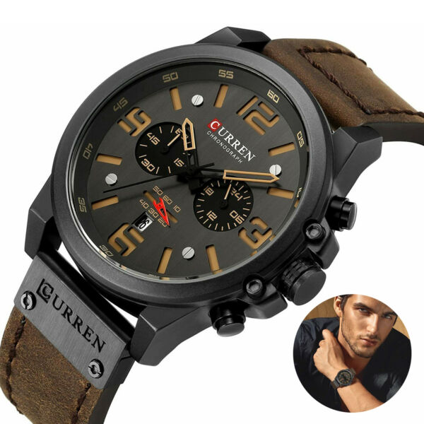 CURREN Military Men#x27;s Quartz Watches Top Sport Chronograph Leather Army Infantry