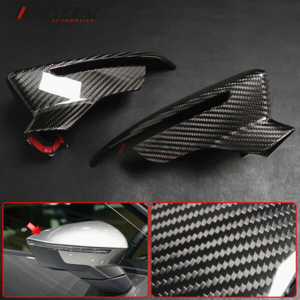 Real Carbon For SEAT Leon Mk3 5F Ibiza MK5 13 18 Side Rearview Mirror Cover Trim $153.46