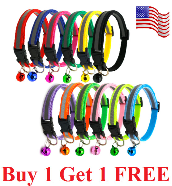 Adjustable Reflective Nylon Cat Collar with Bell for Cat Kitten small dog puppy $5.99