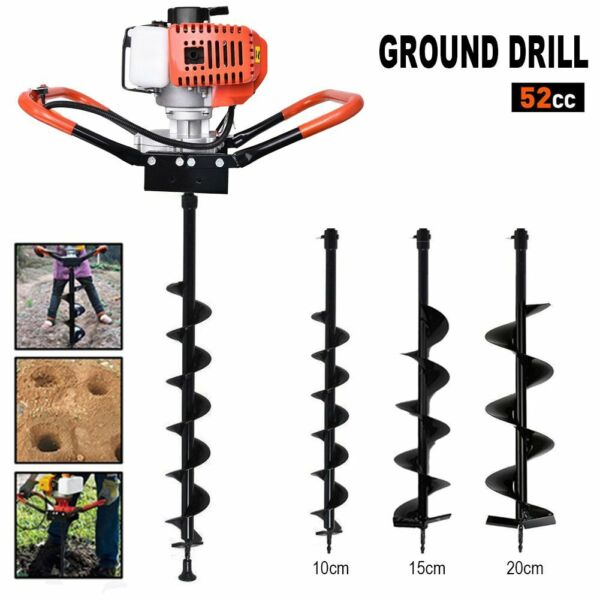 2.2HP 52CC Gas Powered Post Hole Digger with 4quot; 6quot; 8quot; Earth Auger Power Engine