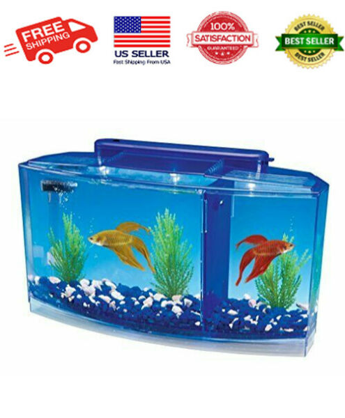 NEW Betta Fish Tank with Divider Triple Beta Tank Deluxe With Filtration System $28.98