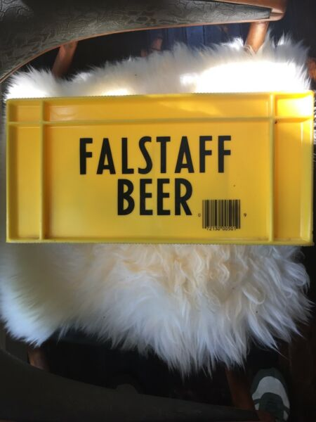 Vintage Falstaff Beer Crate 12 Compartment Yellow Plastic Carrier Box Clean