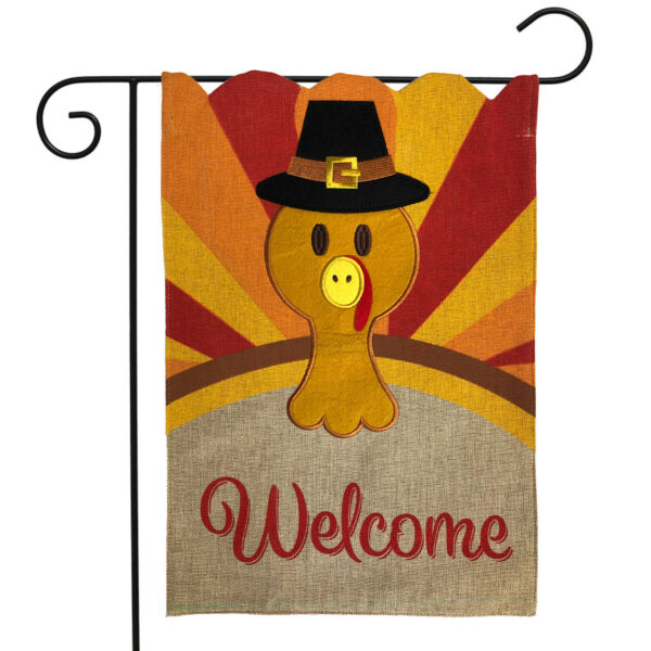 Turkey Thanksgiving Burlap Garden Flag Welcome Holiday 12.5quot;x18quot; Briarwood Lane