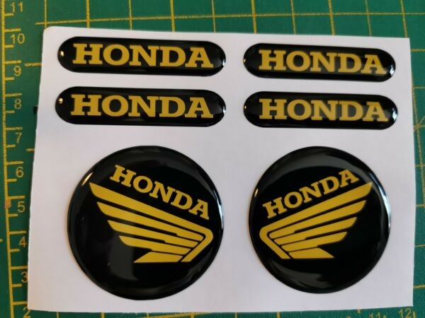 DOMED HONDA BIKE STICKERS DECAL YELLOW FORKS TANK GBP 5.99