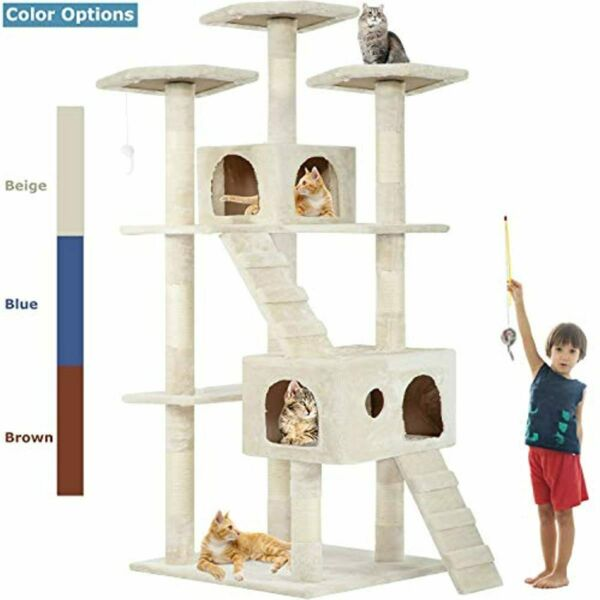 Cat Tree Condo For Indoor Cat Big Tower Multi Giant Castle And Large Extra Tall $111.65