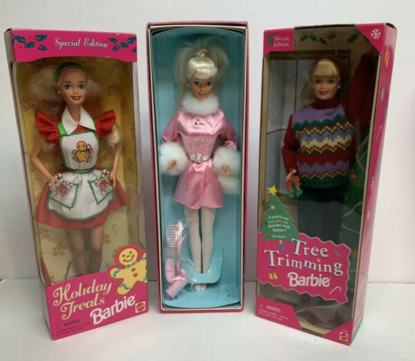 3 Vintage Holiday Barbie Dolls: Holiday Treats Winter Dazzle & Tree Trimming