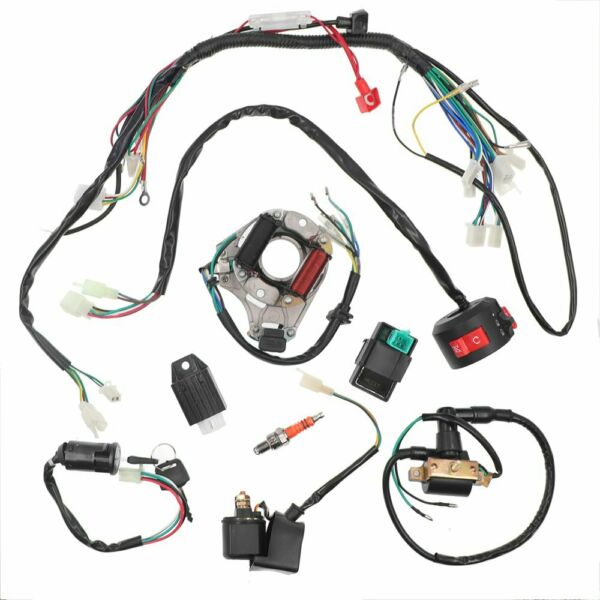 Electric Wiring Harness Wire Loom CDI Stator Kit for 50 70CC 90CC 110CC ATV QUAD $29.99