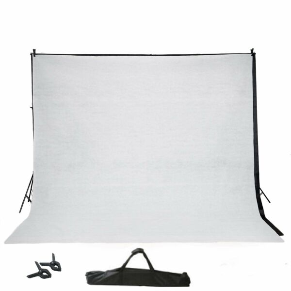 BLACK 8 x 10 ft Photo Backdrop Stand Kit 2 Free Backdrops Studio Background