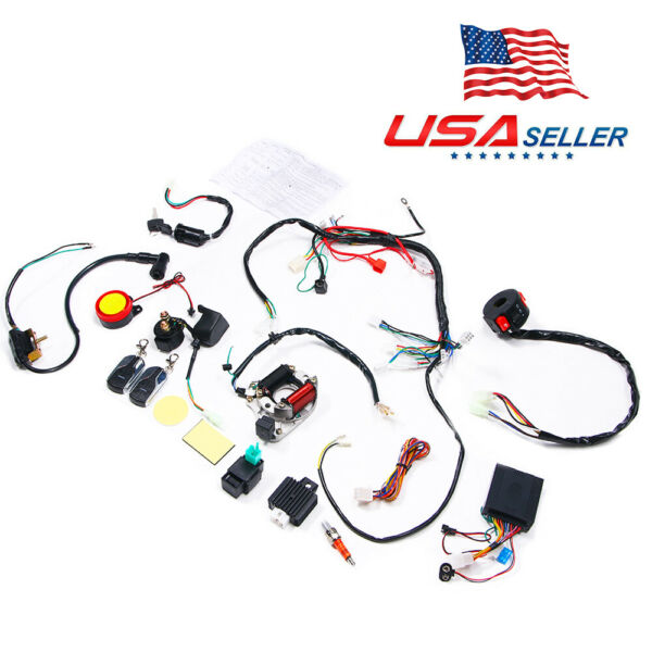 Full Electrics Wiring Harness CDI For ATV 50 70 110 125cc Remote Start Switch