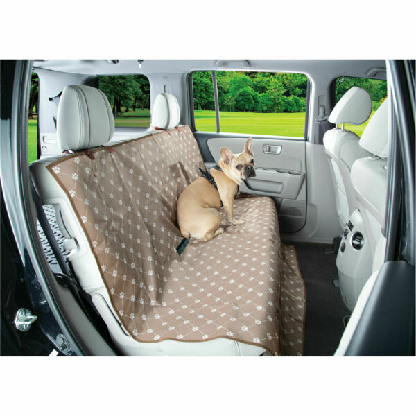 Waterproof Dog Seat Cover Pet Auto Seat Protector Beige Paw Printing $20.00